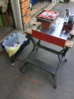 The mobile skate sharpener and accessories.